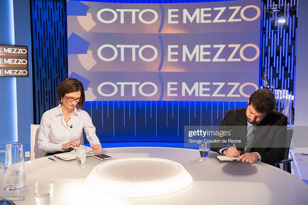 Mariastella Gelmini (L) and Andrea Romano attend 'Otto e Mezzo' Italian TV Show on January 15, 2013 in Rome, Italy.