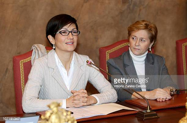 Mariastella Gelmini and Mariolina Moioli attend the School Construction Industry Conference held at Palazzo Marino on November 29, 2010 in Milan,...