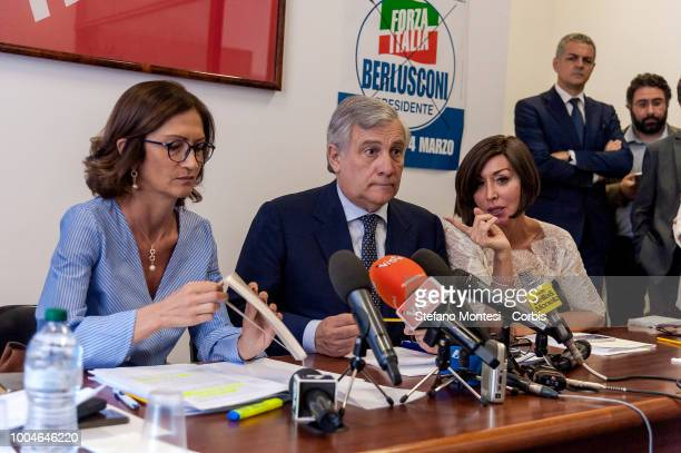 Mariastella Gelmini group leader of Forza Italia at the Chamber of Deputies Antonio Tajani vicepresident of Forza Italia Anna Maria Bernini group...