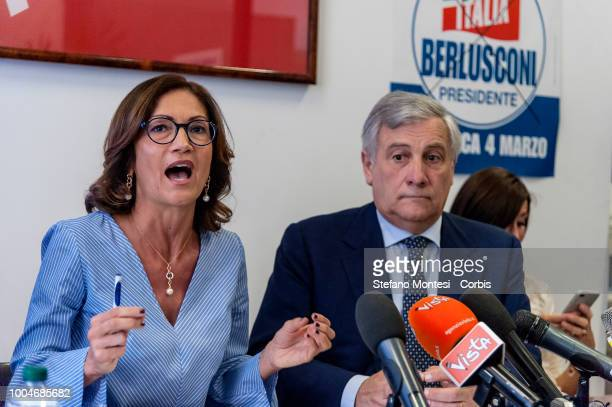 Mariastella Gelmini, group leader of Forza Italia at the Chamber of Deputies, Antonio Tajani, vice-president of Forza Italia, A during the press...