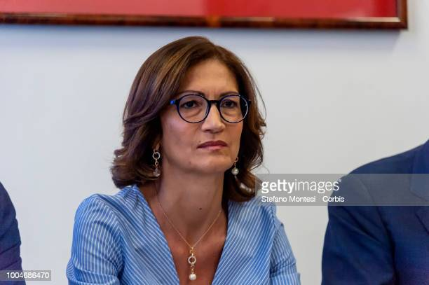 Mariastella Gelmini group leader of Forza Italia at the Chamber of Deputies during the press conference of Forza Italia to illustrate its proposals...