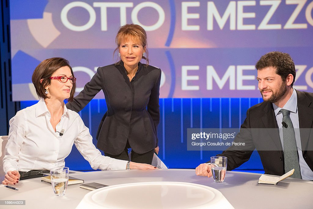 Mariastella Gelmini (L), LIlli Gruber (C) and Andrea Romano attend 'Otto e Mezzo' Italian TV Show on January 15, 2013 in Rome, Italy.