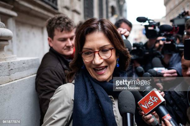 Mariastella Gelmini, of Forza Italia political party, arrives at Palazzo Grazioli for a meeting of Forza Italia during the first day of consultations...