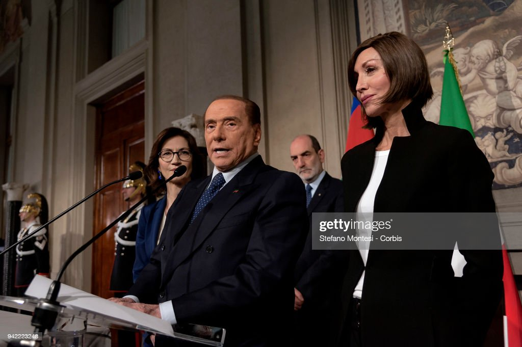 Mariastella Gelmini, Silvio Berlusconi leader of 'Forza Italia' party and Anna Maria Bernini attend a press conference after a meeting with Italy's President Sergio Mattarella during the second day of consultations with political parties for the formation of the new Government at the Quirinale Palace on April 5, 2018 in Rome, Italy.