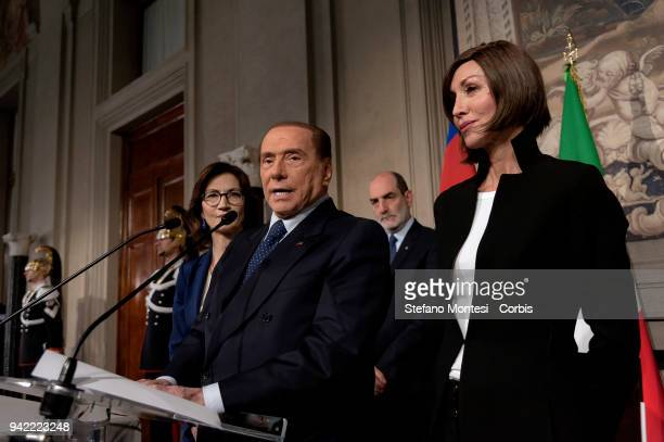 Mariastella Gelmini, Silvio Berlusconi leader of 'Forza Italia' party and Anna Maria Bernini attend a press conference after a meeting with Italy's...