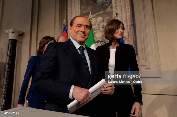 Mariastella Gelmini Silvio Berlusconi leader of 'Forza Italia' party and Anna Maria Bernini attend a press conference after a meeting with Italy's...