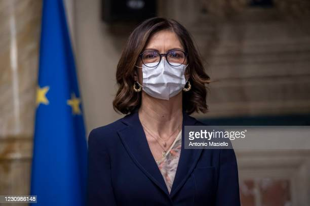 MariaStella Gelmini speaks to media following a meeting with the designated Prime Minister Mario Draghi on formation of a new government at the...