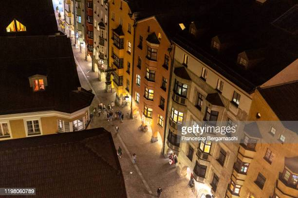 maria-theresienstrasse from above during evening. innsbruck. - grand duchess stock pictures, royalty-free photos & images