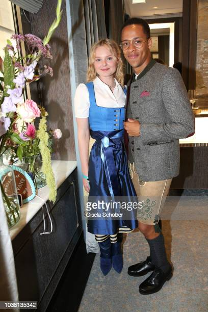 MariaVictoria Dragus and Jerry Hoffmann during the 'Fruehstueck bei Tiffany' at Tiffany Store ahead of the Oktoberfes on September 22 2018 in Munich...
