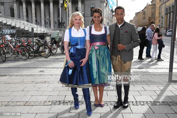 MariaVictoria Dragus Sandra Mohsni Managing Director Tiffany Co Germany and Jerry Hoffmann during the 'Fruehstueck bei Tiffany' at Tiffany Store...