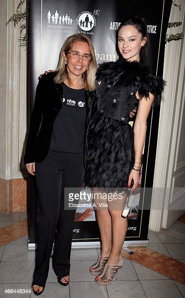 Mariavittoria Rava and Katy Saunders attend the charity dinner organized by Fondazione Rava for the children of Haiti at Villa Letitia on March 15...
