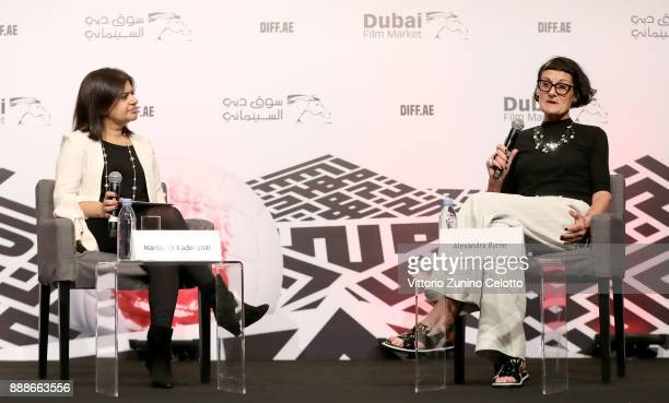 Mariayah Kaderbhai interviews costume designer Alexandra Byrne during a Masterclass on day four of the 14th annual Dubai International Film Festival...