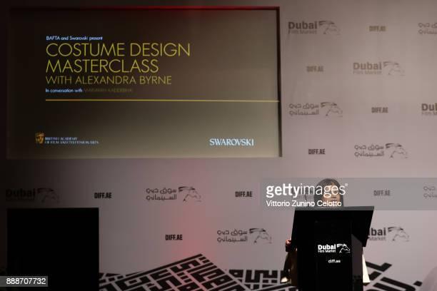 Mariayah Kaderbhai introduces costume designer Alexandra Byrne ahead of a Masterclass on day four of the 14th annual Dubai International Film...