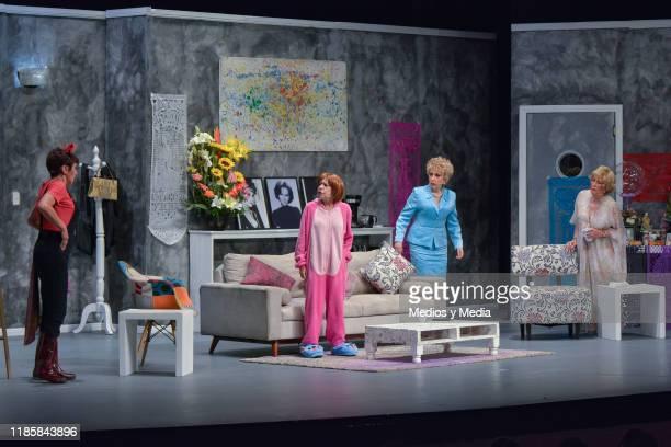 Maribel Fernandez 'La Pelangocha' Raquel Pankowski and Norma Lazareno acting during 100th shows celebration of 'Maduras Solteras y Desesperadas' red...