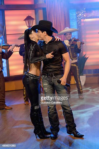 Maribel Guardia and Julian Figueroa are seen on the set of Univisions 'Despierta America' at Univision Studios on August 28 2015 in Miami Florida