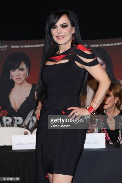 Maribel Guardia attends a press conferenc to promote the theater play Las Arpias at El Telon de Asfalto on July 3 2018 in Mexico City Mexico