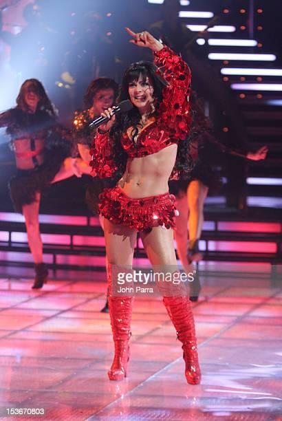 Maribel Guardia performs in Univisions Mira Quien Baila on October 6 2012 in Miami Florida