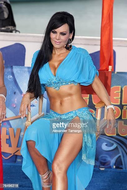 Maribel Guardia poses on stage during Escandalo TV's Reventon del Dia de Trabajo on September 3 2007 in Miami Florida