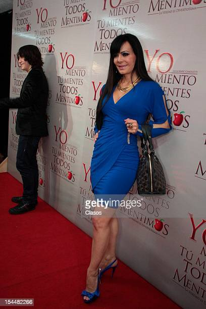 Maribel Guardia poses on the red carpet during the premiere of Yo miento tu mientes todos mentimos in the July 11 Theatre on October 17 2012 in...