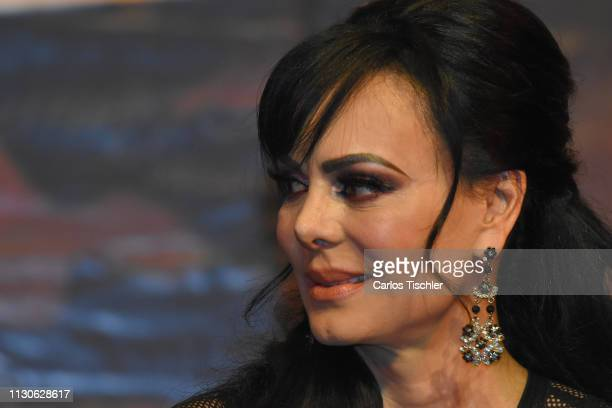 Maribel Guardia speaks during the 'Arpias Recargadas' press conference at Teatro Silvia Pinal on February 18 2019 in Mexico City Mexico