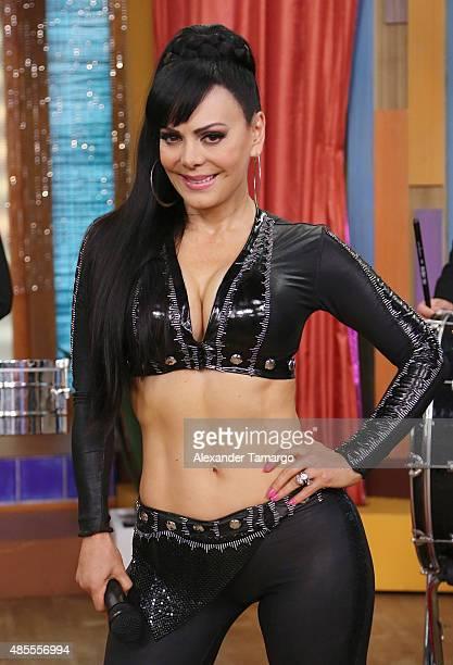 Maribel Guardia visits the set of 'Despierta America' at Univision Studios on August 28 2015 in Miami Florida