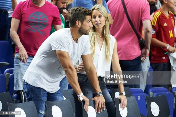 Maribel Nadal and her boyfriend Pep Juaneda Grimalt before friendly match between Spain and the Dominican Republic at Wizink Center on August 22 2019...