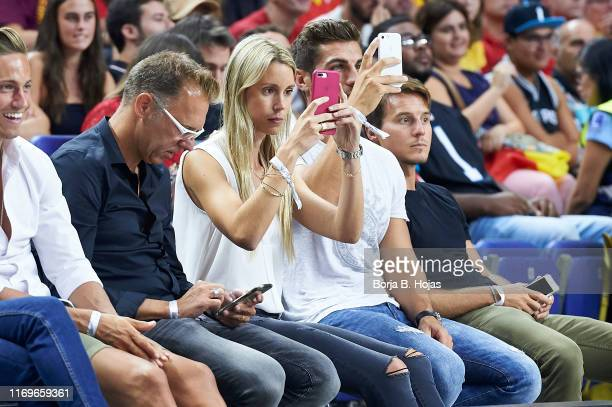 Maribel Nadal and her boyfriend Pep Juaneda Grimalt during a friendly match between Spain and the Dominican Republic at Wizink Center on August 22...
