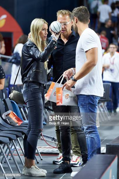 Maribel Nadal and Pep Juaneda Grimalt after a friendly match between Spain and the Dominican Republic at Wizink Center on August 22, 2019 in Madrid,...