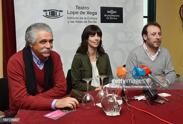 Maribel Verdu and Antonio Molero present the theatre play 'El tipo de la tumba de al lado' at Lope de Vega Theatre on March 19 2013 in Madrid Spain