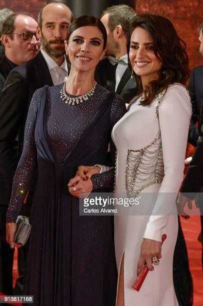 Maribel Verdu and Penelope Cruz attend Goya Cinema Awards 2018 at Madrid Marriott Auditorium on February 3 2018 in Madrid Spain
