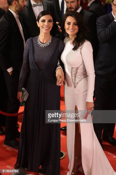 Maribel Verdu and Penelope Cruz attends Goya Cinema Awards 2018 at Madrid Marriott Auditorium on February 3 2018 in Madrid Spain