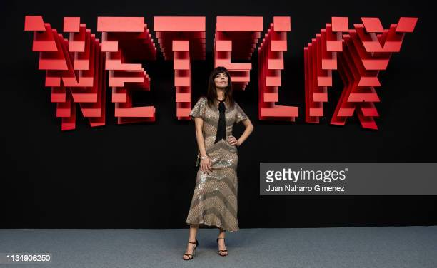 Maribel Verdu attends the red carpet during the Netflix presentation party at the Invernadero del Palacio de Cristal de la Arganzuela on April 4 2019...