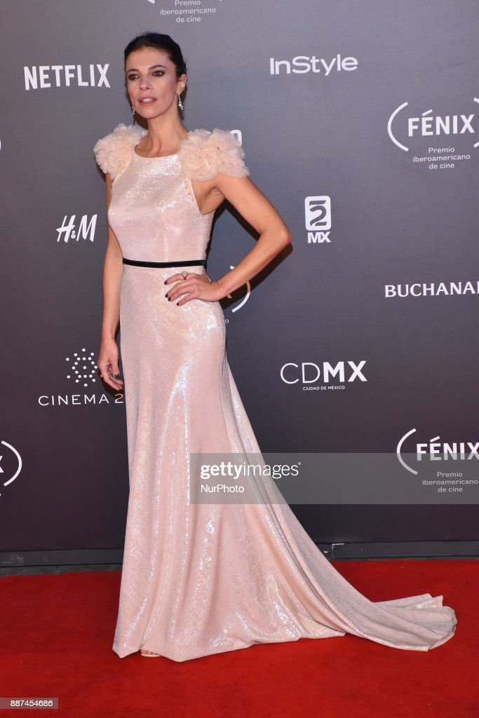 Maribel Verdu is seen arriving at red carpet of Fenix Film Awards on December 06, 2017 in México City, Mexico