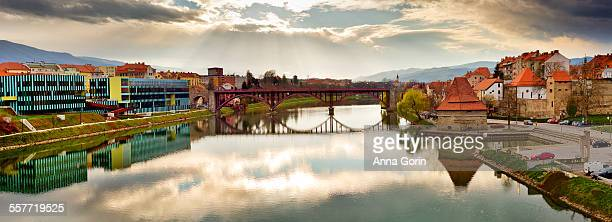 Maribor bridge and Drava River, Slovenia