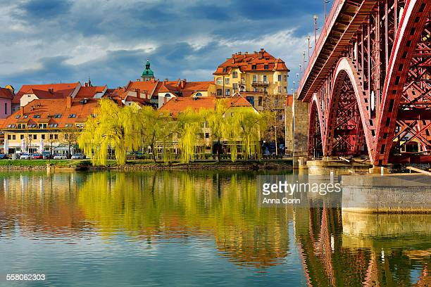 Maribor city reflections in Drava River, Slovenia