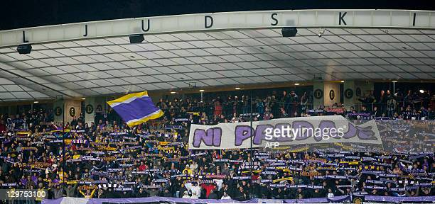 NK Maribor fans cheer for their team during the UEFA Europa League football match between NK Maribor and SC Braga in Maribor on October 20th 2011 AFP...