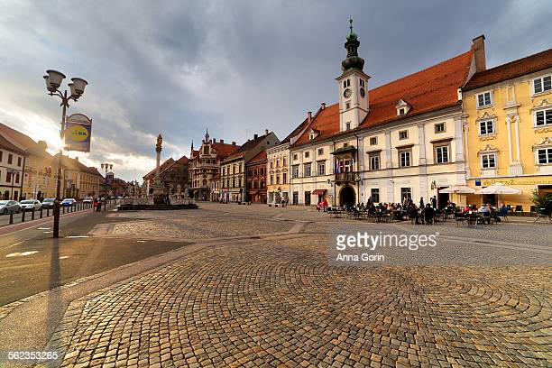 Maribor Old Town square, early evening