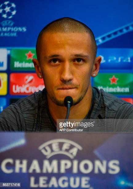 NK Maribor's Alvanian midfielder Valon Ahmedi looks on during a press conference at the Sanchez Pizjuan stadium in Sevilla on September 25 2017 on...