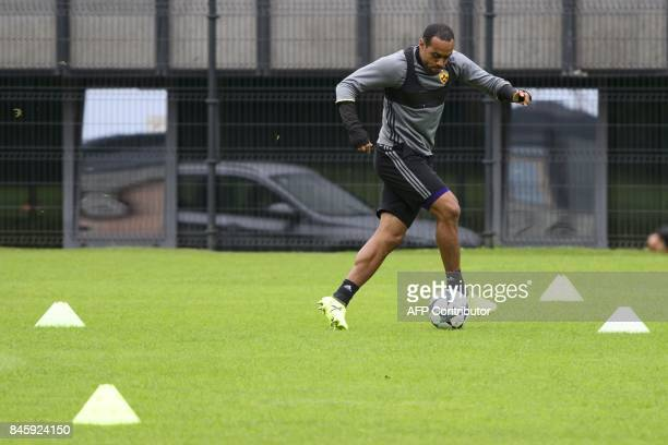 NK Maribor's forward Marcos Tavares takes part in the morning practice session prior to the UEFA Champions League Group E football match between NK...