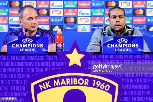 Maribor's head coach Darko Milanic and Brazilian forward Marcos Tavares take part in the press conference prior to the UEFA Champions League Group E...