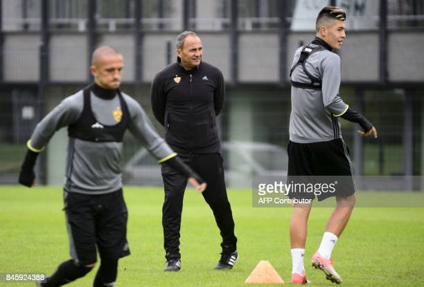 NK Maribor's head coach Darko Milanic takes part in the morning practice session prior to the UEFA Champions League Group E football match between NK...