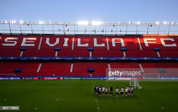 NK Maribor's players attend a training session at the Sanchez Pizjuan stadium in Sevilla on September 25 2017 on the eve of the UEFA Champions League...