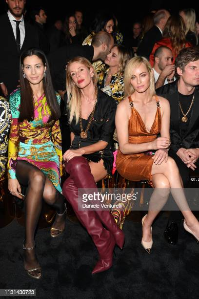 Marica Pellegrinelli Alessia Marcuzzi and Amber Valletta attend the Versace show at Milan Fashion Week Autumn/Winter 2019/20 on February 22 2019 in...