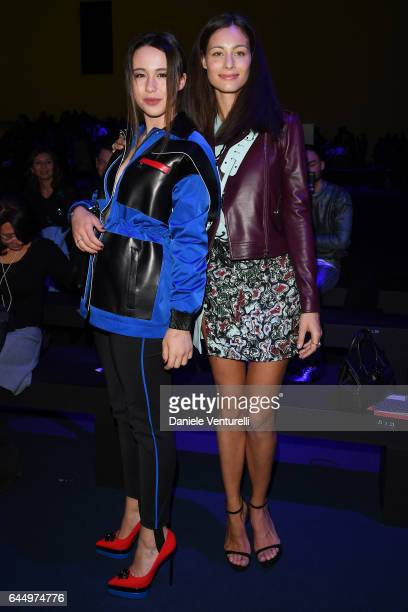Marica Pellegrinelli and Aurora Versace attends the Versace show during Milan Fashion Week Fall/Winter 2017/18 on February 24 2017 in Milan Italy