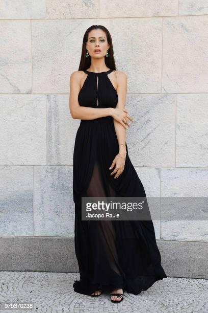 Marica Pellegrinelli arrives at the Alberta Ferretti show during Milan Men's Fashion Week Spring/Summer 2019 on June 15 2018 in Milan Italy