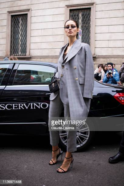 Marica Pellegrinelli attends the Ermanno Scervino show at Milan Fashion Week Autumn/Winter 2019/20 on February 23 2019 in Milan Italy