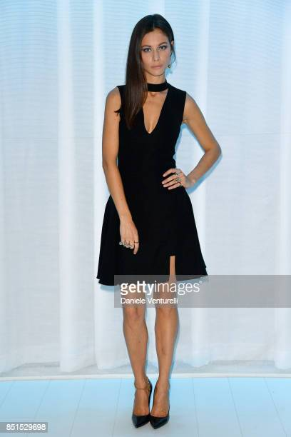 Marica Pellegrinelli attends the Versace show during Milan Fashion Week Spring/Summer 2018 on September 22 2017 in Milan Italy