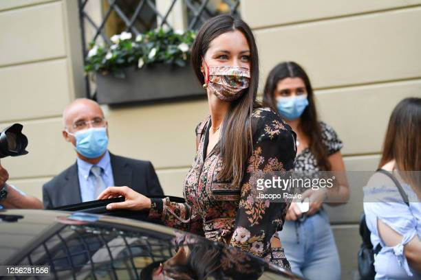 Marica Pellegrinelli is seen arriving at the Four Season Hotel ahead of the Etro Fashion Show on July 15 2020 in Milan Italy