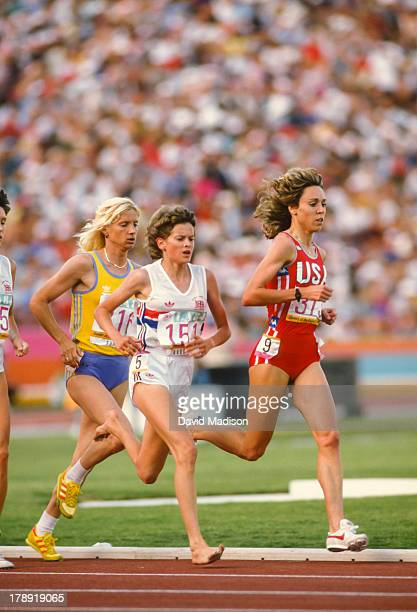 Maricica Puica Zola Budd and Mary Decker run the Women's 3000 meter final of the 1984 Olympics held in the Los Angeles Memorial Coliseum in Los...