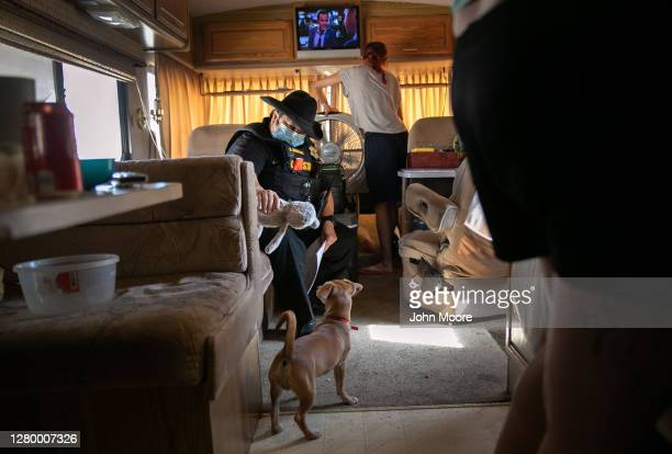 Maricopa County constable Darlene Martinez arrives to evict the Medrano family from an RV park on October 07, 2020 in Phoenix, Arizona. The father,...